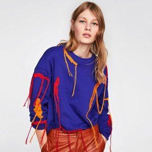 ZARA Embroidered Sweatshirt With Fringing, Blue